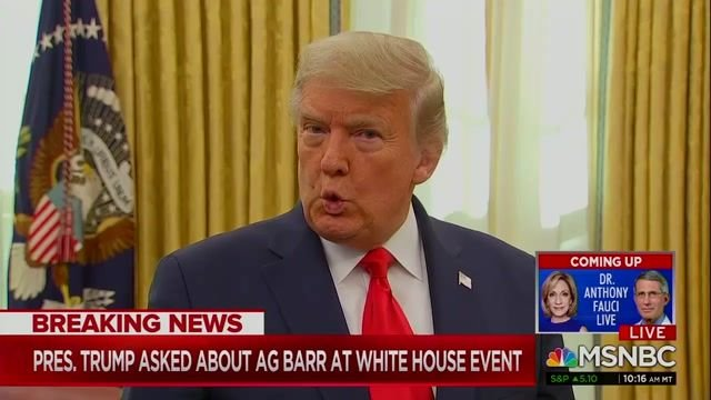 "Delusional as ever, Trump responds to AG Barr saying there was no widespread election fraud: ""... he hasn't looked ..."""