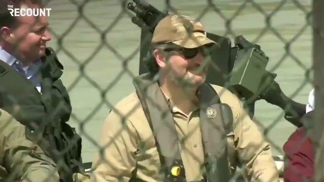 Republican senators arrive at a U.S.-Mexico border site in an armed boat.