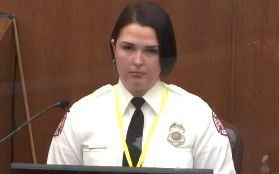 Genevieve Hansen, a firefighter with EMT training, says she was prevented from helping Floyd. She's back in court today.
