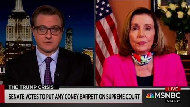 "Speaker Pelosi after Barrett's confirmation: ""Should we expand the Court? Well, let's take a look and see."""