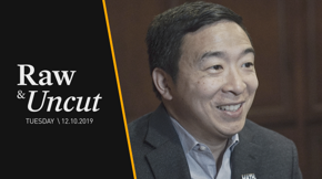 Andrew Yang explains how his universal basic income plan specifically empowers women during an interview with the Des Moines Register in Iowa