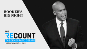 Joe Biden survived the debate last night, and everyone else on stage (even New York mayor Bill DeBlasio) had good moments. But New Jersey senator Cory Booker had the best night of all.