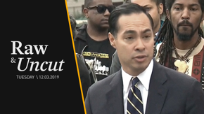 Former Housing & Urban Development Secretary and current presidential candidate Julián Castro speaks at a Black Lives Matter protest outside LAPD headquarters.
