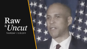 "Senator Cory Booker (D-NJ) speaks out on a ""diverse coalition"" and Kamala Harris's decision to withdraw from the 2020 race at a speech in Des Moines, IA"