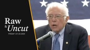 Senator Bernie Sanders (I-VT) comments on the recent Iran airstrike attacks while at the National Motorcycle Museum in Anamosa, Iowa