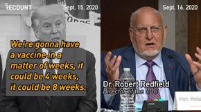 "Anyone know a reason why Trump would say a vaccine is coming in a ""matter of weeks"" while his CDC director says mid-to-late 2021?"