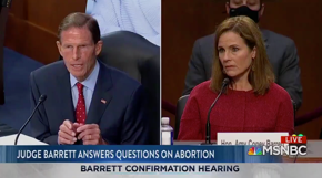 "Judge Barrett won't say whether criminalizing IVF treatment would be constitutional.  Sen. Blumenthal (D-CT) calls her response ""chilling"" and says ""millions of women, potential parents, would be horrified …"""