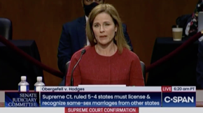 "Amy Coney Barrett on marriage equality and Obergefell gives a very hypothetical answer: ""If they outlawed same-sex marriage, there'd have to be a case challenging it. And for the Supreme Court to take it up, you'd have to have lower courts going along..."""