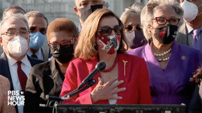 """House Speaker Nancy Pelosi at the Congressional Black Caucus presser after Derek Chauvin's verdict: """"Thank you George Floyd for sacrificing your life for justice."""""""