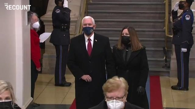 Outgoing Vice President Pence and Karen Pence arrive. They did not attend President Trump's send-off this morning.