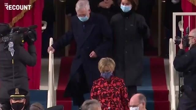 Senate Minority Leader Mitch McConnell arrives at Biden's inauguration.