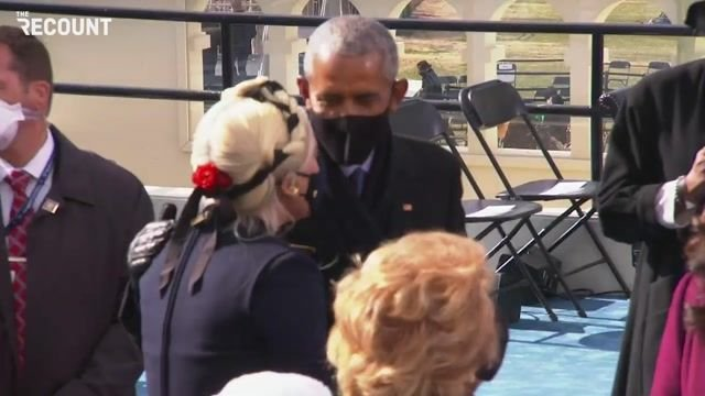 Lady Gaga chats with Barack Obama after the ceremony.