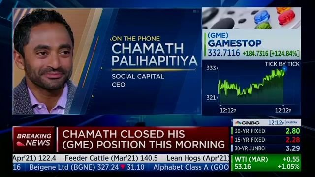 Chamath Palihapitiya notes Redditors responsible for surging GameStop profit experienced the 2008 recession.