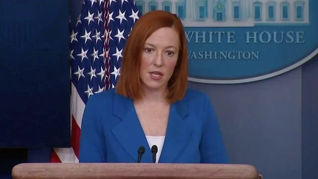 """WH Press Sec. Jen Psaki says there is an """"ongoing review"""" in response to Russia sentencing Alexei Navalny to 3.5 years."""