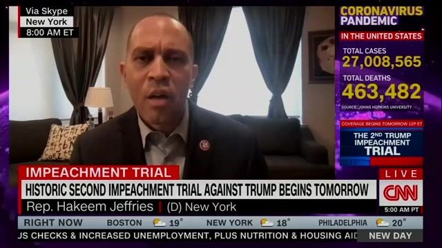 """""""This is an open-and-shut case."""" —Rep. Hakeem Jeffries (D-NY) on the second impeachment trial of Donald Trump."""
