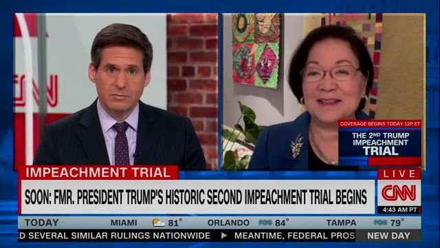 """Sen. Hirono (D-HI) on GOP and Impeachment: """"What's motivating them is extreme fear"""" of Trump and his base."""