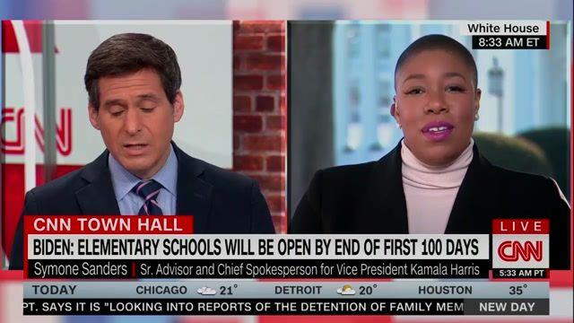 "John Berman presses VP Harris Chief Spokesperson Symone Sanders on teacher vaccinations: ""It's not a trick question."""