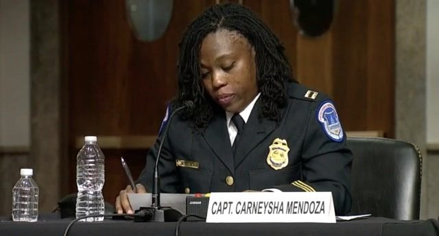 "Capt. Mendoza on her experience Jan. 6: ""I received chemical burns to my face that still have not healed to this day."""
