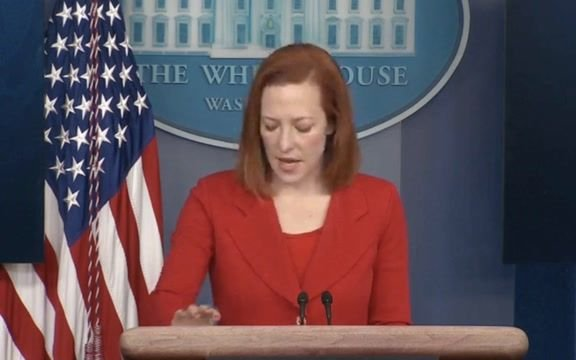 WH Press Sec. Psaki announces sanctions against 7 in senior members of the Russian government over poisoning of Navalny.
