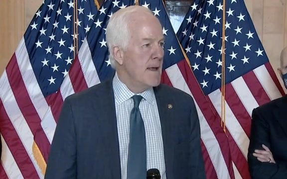 """Sen. Cornyn (R-TX) defends TX reopening and mask mandate repeal: """"Government needs to quit making arbitrary rules ..."""""""