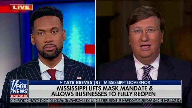 """Gov. Reeves (R-MS) reopened state and lifted mask mandate because """"we no longer have a health care crisis in our state."""""""