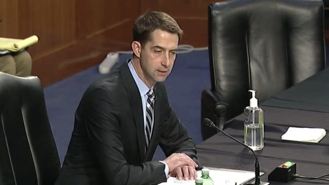 At Senate hearing on gun violence, Sen. Cotton (R-AR) blames 'Defund The Police' movement for increase in violent crime.