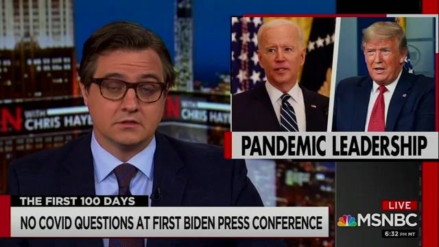 """Chris Hayes on not one question being asked about the pandemic in Biden's first presser: """"Think about how nuts it is."""""""