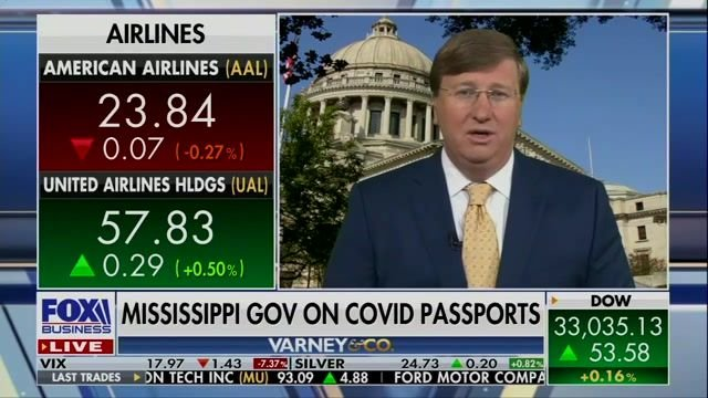 "Gov. Tate Reeves (R-MS) says COVID vaccine passports are ""the wrong approach."""